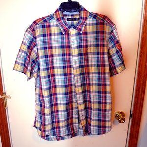 nautica large button shirt plaid